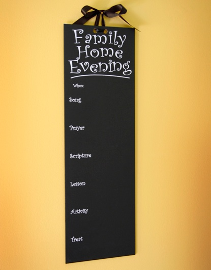 FAMILY HOME EVENING CHALKBOARD CHART BOARD WITH HANGING RIBBON LDS MORMON F
