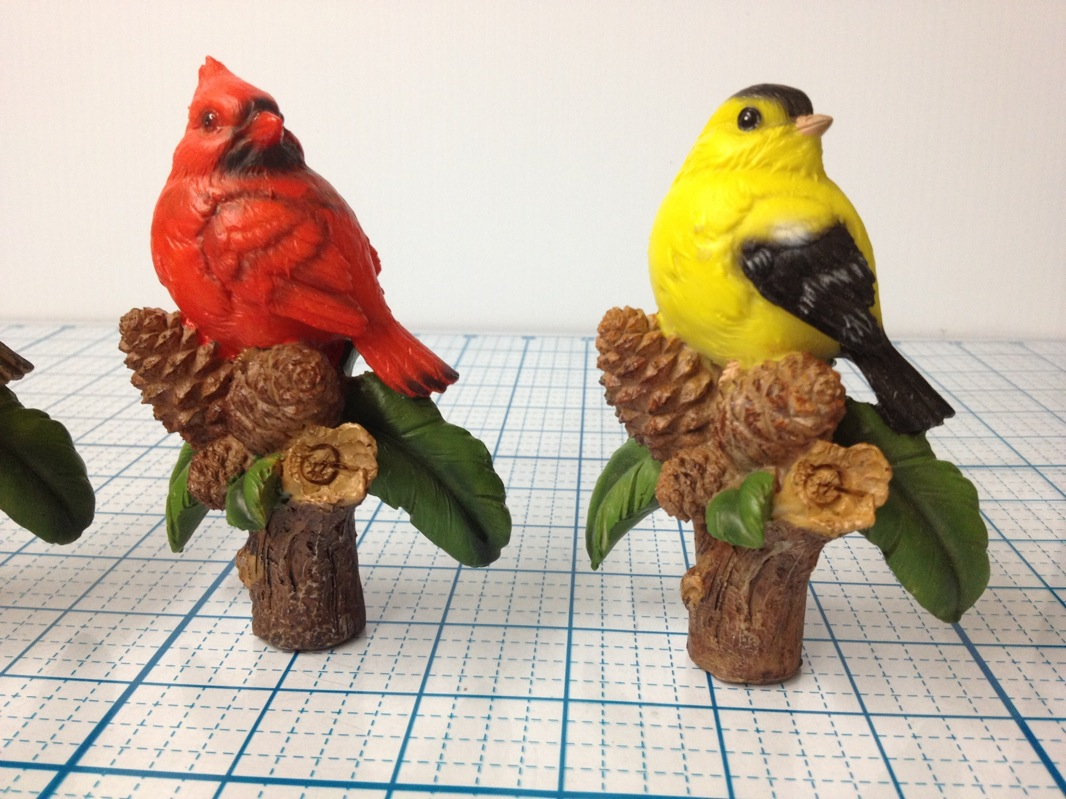 bird figurines potted plant decor finch cardinal robin sparrow 4 tall