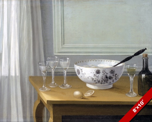 Punch bowl glasses lemon limoncello still life painting for 90214 zip code