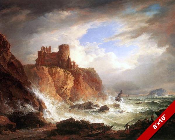 TULLIALLAN CASTLE RUINS PERTHSHIRE SCOTLAND PAINTING ART REAL CANVAS PRINT